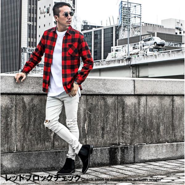 ネルシャツ メンズ チェックシャツ 長袖シャツ 無地シャツ チェック レギュラーカラー ホワイト レッド ブロック 長袖シャツ|evergreen92|12