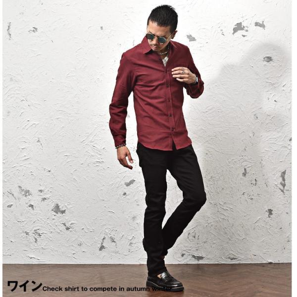 ネルシャツ メンズ チェックシャツ 長袖シャツ 無地シャツ チェック レギュラーカラー ホワイト レッド ブロック 長袖シャツ|evergreen92|15