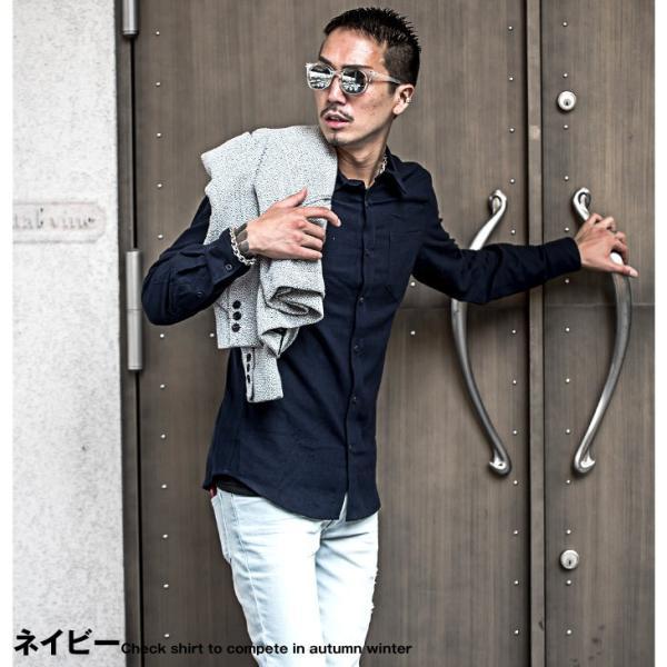 ネルシャツ メンズ チェックシャツ 長袖シャツ 無地シャツ チェック レギュラーカラー ホワイト レッド ブロック 長袖シャツ|evergreen92|16