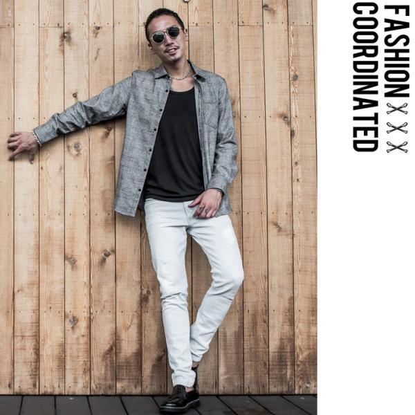ネルシャツ メンズ チェックシャツ 長袖シャツ 無地シャツ チェック レギュラーカラー ホワイト レッド ブロック 長袖シャツ|evergreen92|18
