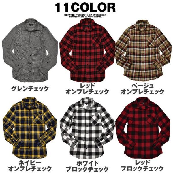 ネルシャツ メンズ チェックシャツ 長袖シャツ 無地シャツ チェック レギュラーカラー ホワイト レッド ブロック 長袖シャツ|evergreen92|19