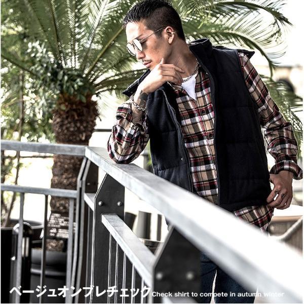 ネルシャツ メンズ チェックシャツ 長袖シャツ 無地シャツ チェック レギュラーカラー ホワイト レッド ブロック 長袖シャツ|evergreen92|09