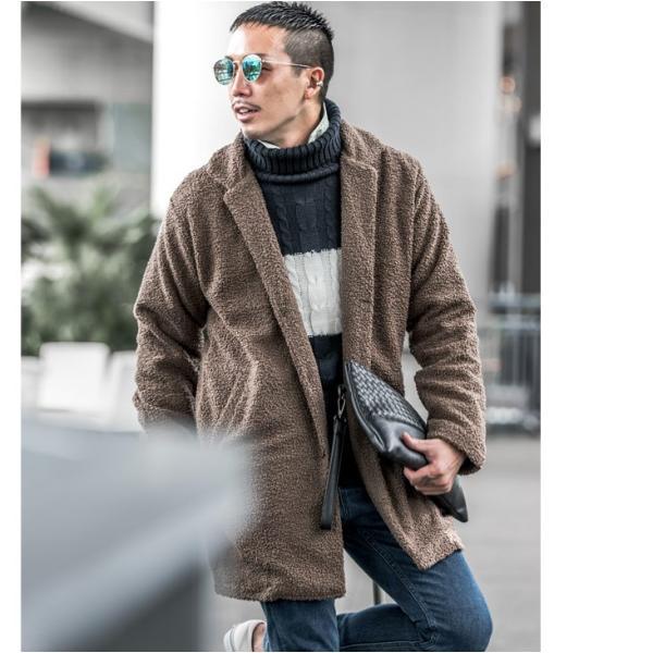 【在庫限り】 コート メンズ チェスターコート ジャケット アウター BIG 大きいサイズ ビッグ ボア もこもこ プードルボア evergreen92 10