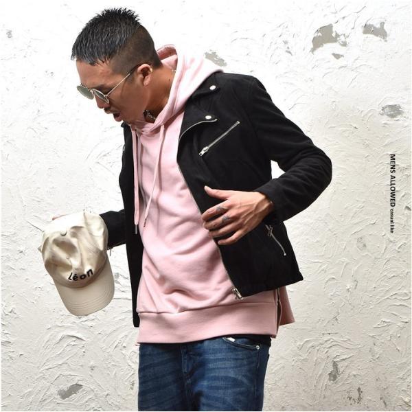 パーカー メンズ ワイド ビッグシルエット ビッグ 大きいサイズ サイドジップ ロング丈 無地 ユニセックス ストリート 長袖|evergreen92|08