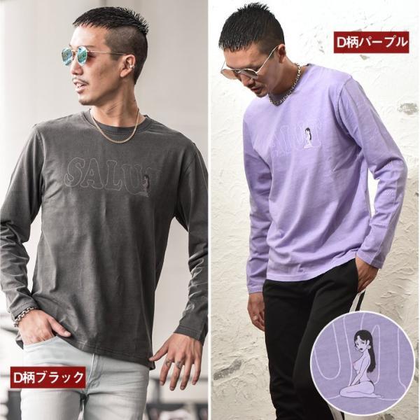 Tシャツ メンズ 大きいサイズ 長袖 ロンTシャツ 袖プリント ストリート ロゴ サーフ オレンジ 白 ホワイト ブラック 2枚目半額 evergreen92 12