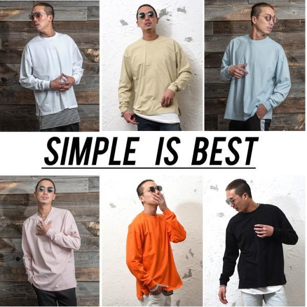 Tシャツ メンズ 長袖Tシャツ ロンT クルーネック ビックサイズ 大きいサイズ レイヤード 重ね着 無地Tシャツ オレンジ 白 ホワイト evergreen92 02