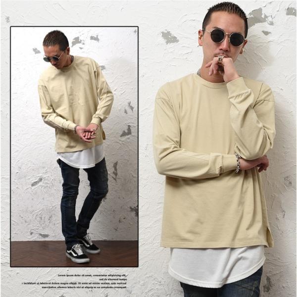 Tシャツ メンズ 長袖Tシャツ ロンT クルーネック ビックサイズ 大きいサイズ レイヤード 重ね着 無地Tシャツ オレンジ 白 ホワイト evergreen92 11