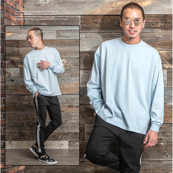 Tシャツ メンズ 長袖Tシャツ ロンT クルーネック ビックサイズ 大きいサイズ レイヤード 重ね着 無地Tシャツ オレンジ 白 ホワイト evergreen92 13