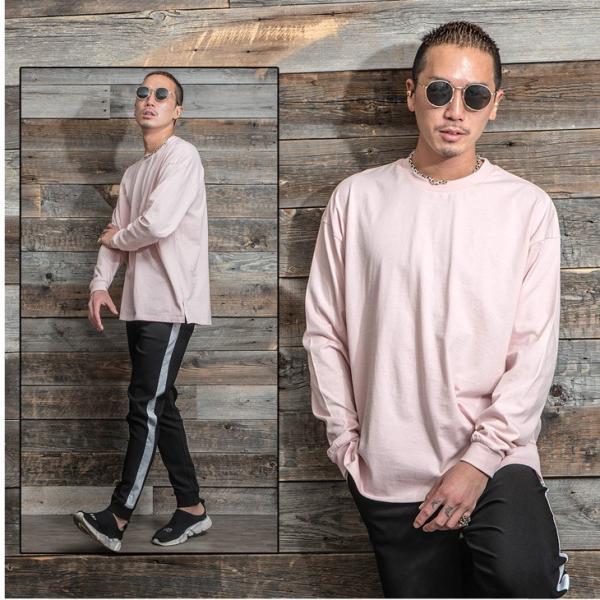 Tシャツ メンズ 長袖Tシャツ ロンT クルーネック ビックサイズ 大きいサイズ レイヤード 重ね着 無地Tシャツ オレンジ 白 ホワイト evergreen92 15