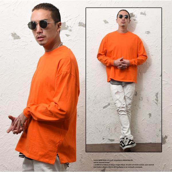 Tシャツ メンズ 長袖Tシャツ ロンT クルーネック ビックサイズ 大きいサイズ レイヤード 重ね着 無地Tシャツ オレンジ 白 ホワイト evergreen92 07