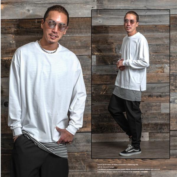 Tシャツ メンズ 長袖Tシャツ ロンT クルーネック ビックサイズ 大きいサイズ レイヤード 重ね着 無地Tシャツ オレンジ 白 ホワイト evergreen92 09