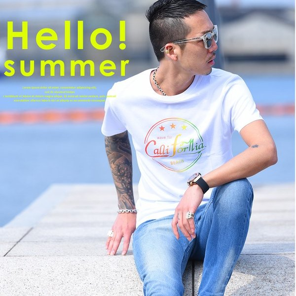 Tシャツ メンズ 半袖 夏 コーデ ブランド Vネック  新品 おしゃれ タイト 小さめ クルーネック かっこいい プリント ロゴ 白|evergreen92|02