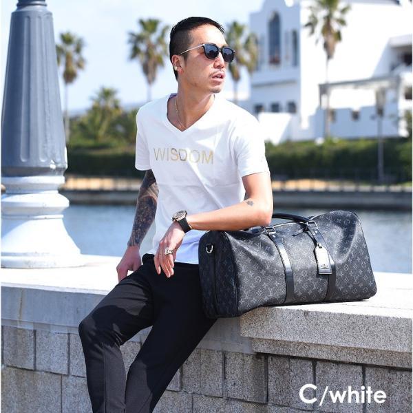 Tシャツ メンズ 半袖 夏 コーデ ブランド Vネック  新品 おしゃれ タイト 小さめ クルーネック かっこいい プリント ロゴ 白|evergreen92|13