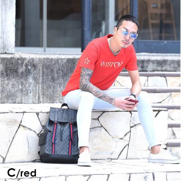 Tシャツ メンズ 半袖 夏 コーデ ブランド Vネック  新品 おしゃれ タイト 小さめ クルーネック かっこいい プリント ロゴ 白|evergreen92|15