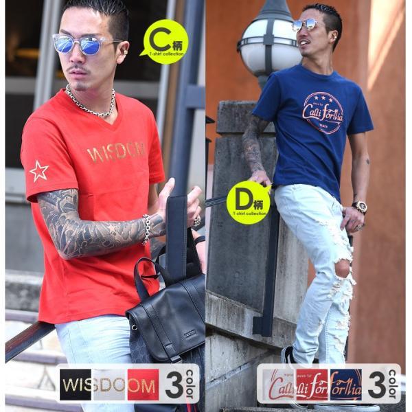 Tシャツ メンズ 半袖 夏 コーデ ブランド Vネック  新品 おしゃれ タイト 小さめ クルーネック かっこいい プリント ロゴ 白|evergreen92|05