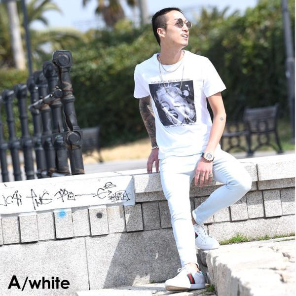 Tシャツ メンズ 半袖 夏 コーデ ブランド Vネック  新品 おしゃれ タイト 小さめ クルーネック かっこいい プリント ロゴ 白|evergreen92|08