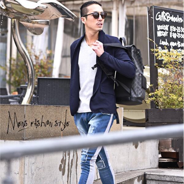 イタリアンカラージャケット メンズ 長袖 テーラードジャケット カジュアル 大きいサイズ XL ブラック グレー  細身 タイト 無地|evergreen92|11
