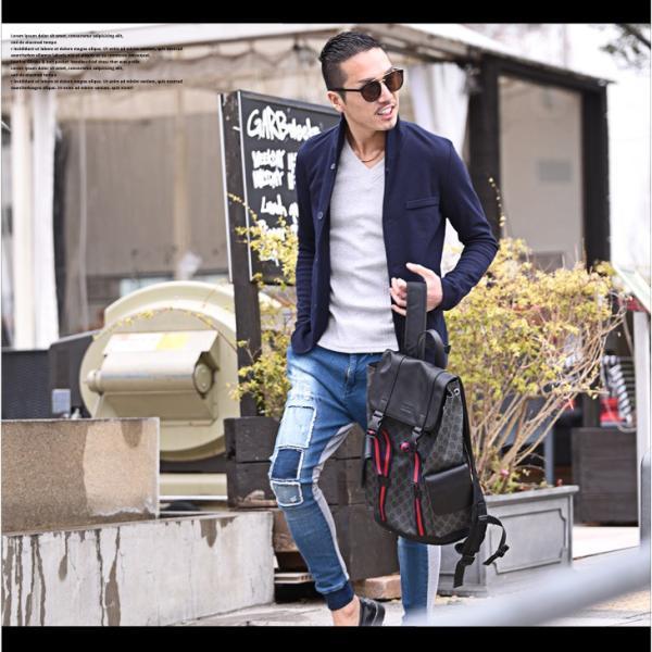 イタリアンカラージャケット メンズ 長袖 テーラードジャケット カジュアル 大きいサイズ XL ブラック グレー  細身 タイト 無地|evergreen92|12
