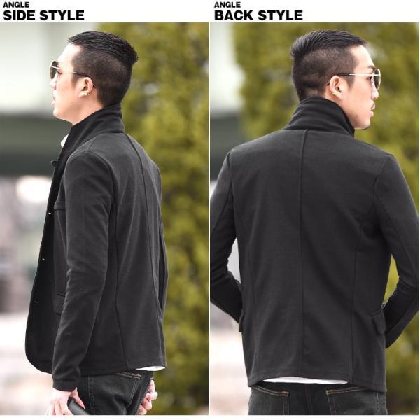 イタリアンカラージャケット メンズ 長袖 テーラードジャケット カジュアル 大きいサイズ XL ブラック グレー  細身 タイト 無地|evergreen92|13