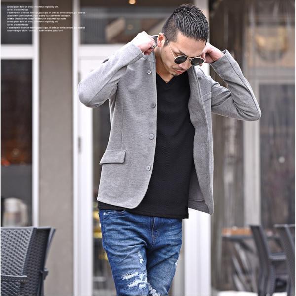 イタリアンカラージャケット メンズ 長袖 テーラードジャケット カジュアル 大きいサイズ XL ブラック グレー  細身 タイト 無地|evergreen92|05