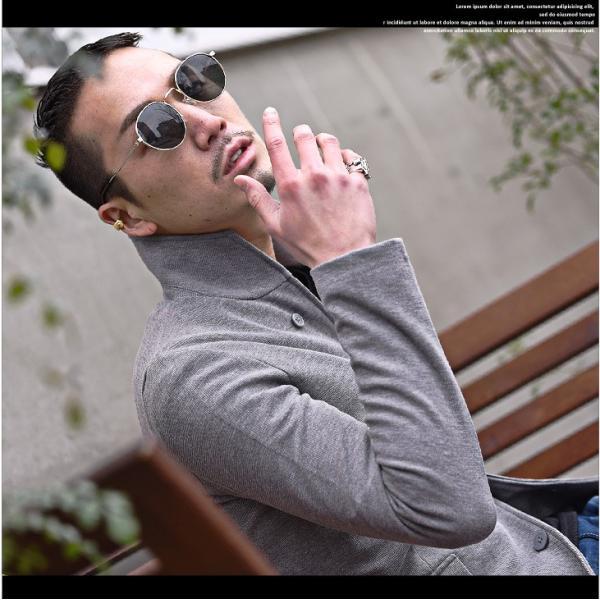 イタリアンカラージャケット メンズ 長袖 テーラードジャケット カジュアル 大きいサイズ XL ブラック グレー  細身 タイト 無地|evergreen92|06