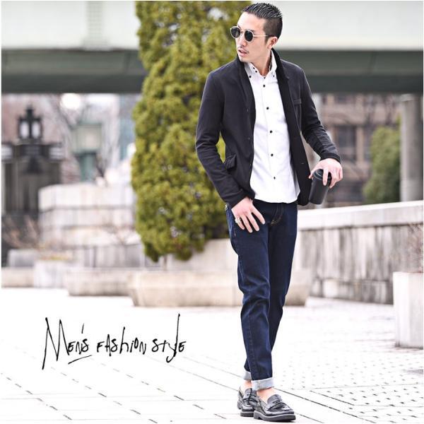 イタリアンカラージャケット メンズ 長袖 テーラードジャケット カジュアル 大きいサイズ XL ブラック グレー  細身 タイト 無地|evergreen92|08