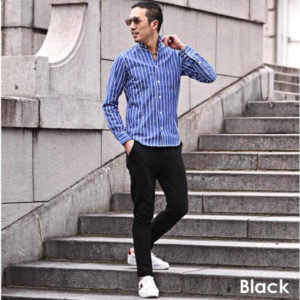 アンクルパンツ メンズ ストレッチ テーパード パンツ 9分丈 スキニー 細身 タイト 無地 シンプル ブラック グレー 黒 物|evergreen92|10