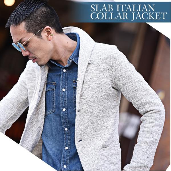 イタリアンカラージャケット メンズ 長袖 テーラードジャケット カジュアル 大きいサイズ XL スラブ ブラック グレー 細身 タイト|evergreen92|02