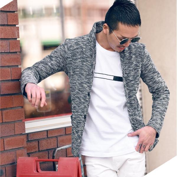 イタリアンカラージャケット メンズ 長袖 テーラードジャケット カジュアル 大きいサイズ XL スラブ ブラック グレー 細身 タイト|evergreen92|11