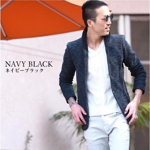 イタリアンカラージャケット メンズ 長袖 テーラードジャケット カジュアル 大きいサイズ XL スラブ ブラック グレー 細身 タイト|evergreen92|12