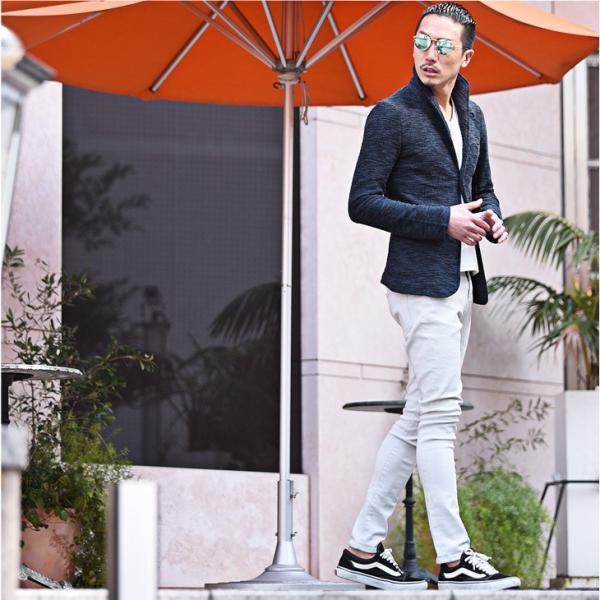 イタリアンカラージャケット メンズ 長袖 テーラードジャケット カジュアル 大きいサイズ XL スラブ ブラック グレー 細身 タイト|evergreen92|13