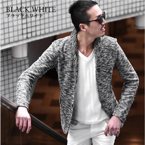 イタリアンカラージャケット メンズ 長袖 テーラードジャケット カジュアル 大きいサイズ XL スラブ ブラック グレー 細身 タイト|evergreen92|15