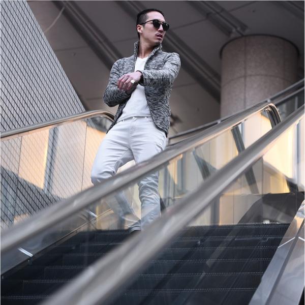 イタリアンカラージャケット メンズ 長袖 テーラードジャケット カジュアル 大きいサイズ XL スラブ ブラック グレー 細身 タイト|evergreen92|17