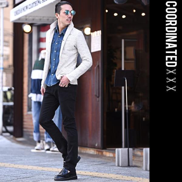 イタリアンカラージャケット メンズ 長袖 テーラードジャケット カジュアル 大きいサイズ XL スラブ ブラック グレー 細身 タイト|evergreen92|19
