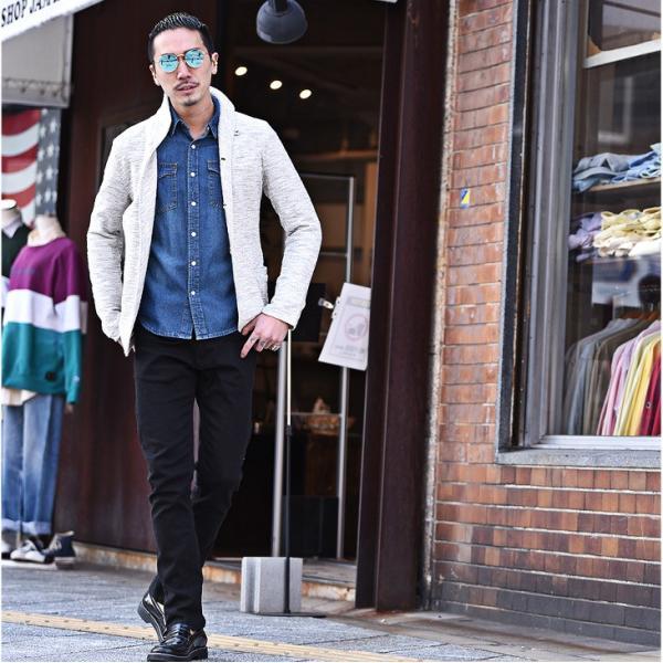 イタリアンカラージャケット メンズ 長袖 テーラードジャケット カジュアル 大きいサイズ XL スラブ ブラック グレー 細身 タイト|evergreen92|07