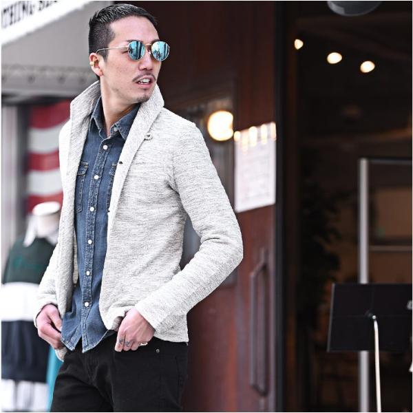 イタリアンカラージャケット メンズ 長袖 テーラードジャケット カジュアル 大きいサイズ XL スラブ ブラック グレー 細身 タイト|evergreen92|08