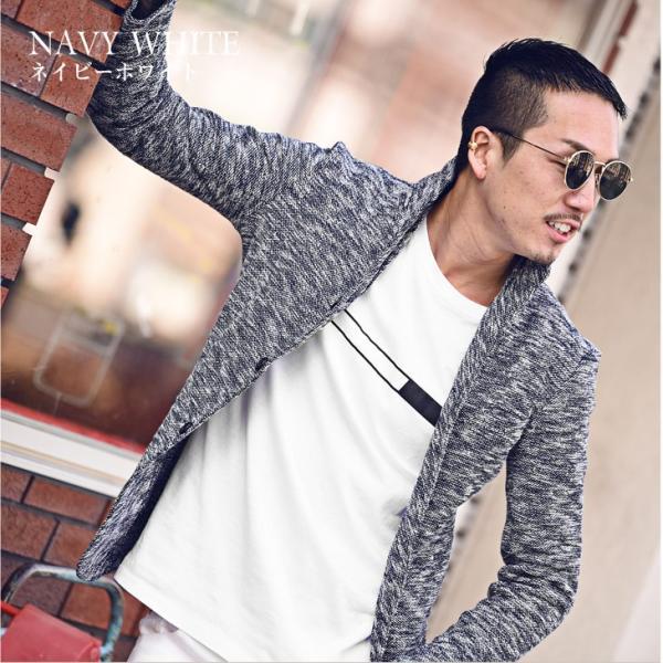 イタリアンカラージャケット メンズ 長袖 テーラードジャケット カジュアル 大きいサイズ XL スラブ ブラック グレー 細身 タイト|evergreen92|09