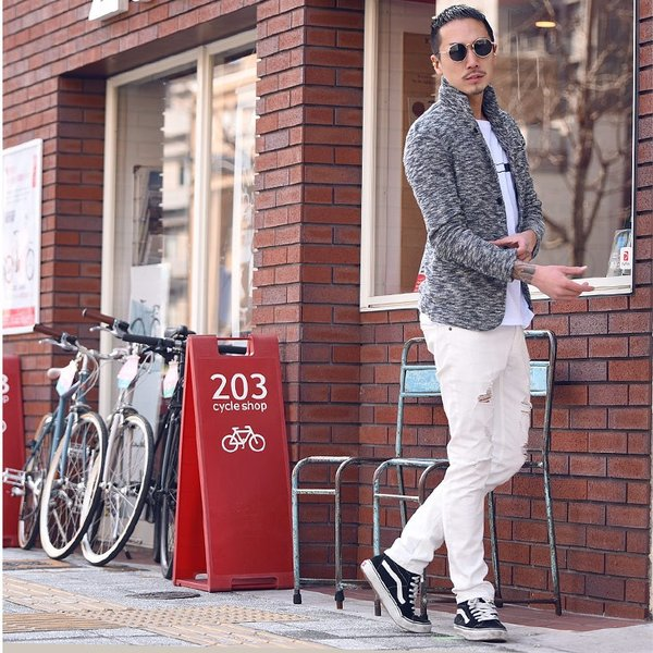 イタリアンカラージャケット メンズ 長袖 テーラードジャケット カジュアル 大きいサイズ XL スラブ ブラック グレー 細身 タイト|evergreen92|10