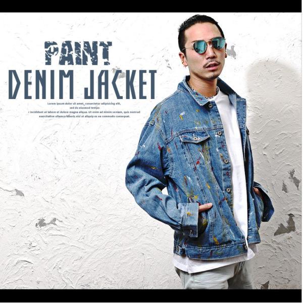 ジャケット メンズ デニム Gジャン メンズ デニムジャケット ジージャン ペイント ビック 大きいサイズ ストリート系|evergreen92|02