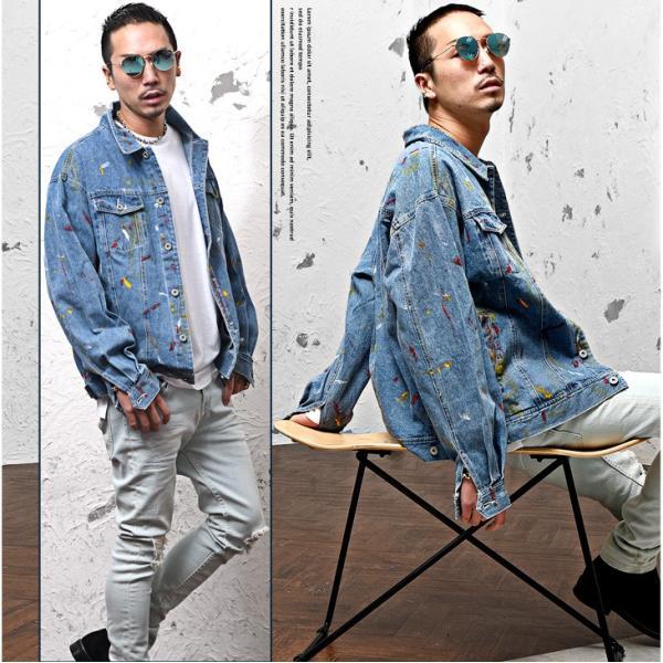 ジャケット メンズ デニム Gジャン メンズ デニムジャケット ジージャン ペイント ビック 大きいサイズ ストリート系|evergreen92|05