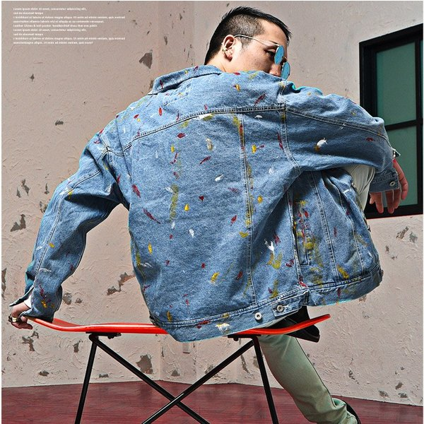 ジャケット メンズ デニム Gジャン メンズ デニムジャケット ジージャン ペイント ビック 大きいサイズ ストリート系|evergreen92|06