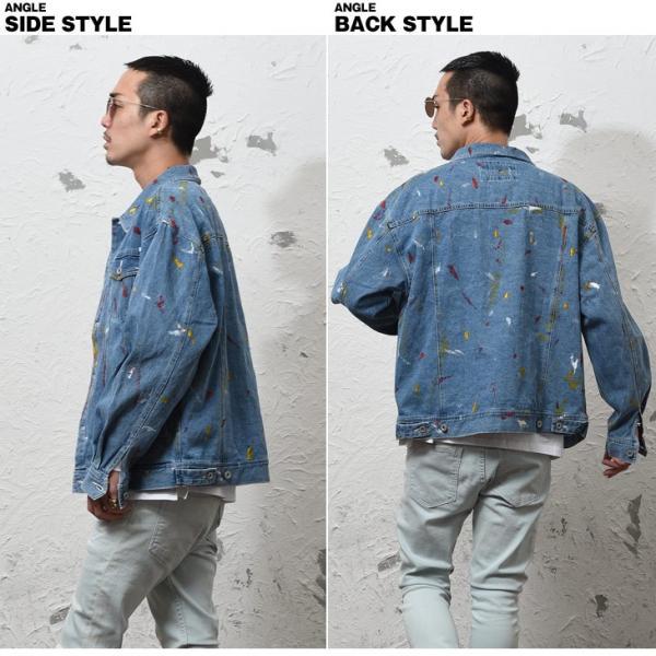 ジャケット メンズ デニム Gジャン メンズ デニムジャケット ジージャン ペイント ビック 大きいサイズ ストリート系|evergreen92|07