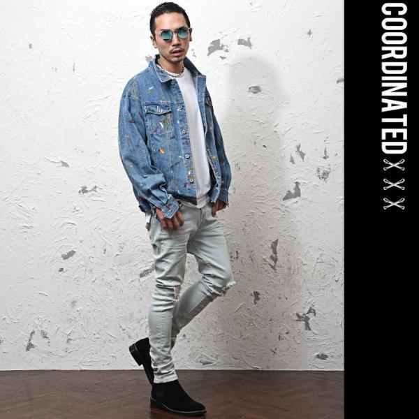 ジャケット メンズ デニム Gジャン メンズ デニムジャケット ジージャン ペイント ビック 大きいサイズ ストリート系|evergreen92|08