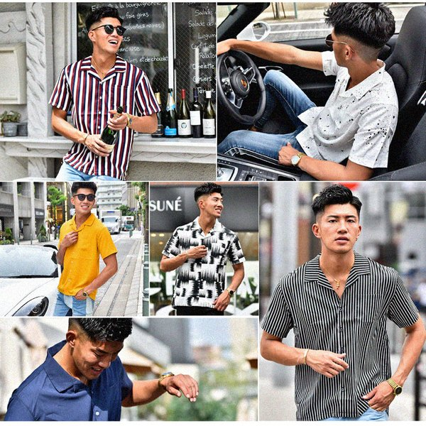 開襟シャツ 半袖 メンズ 半袖シャツ オープンカラーシャツ メンズシャツ カジュアルシャツ 大きいサイズ 柄 ゆったり きれいめ  ストライプシャツ|evergreen92|02
