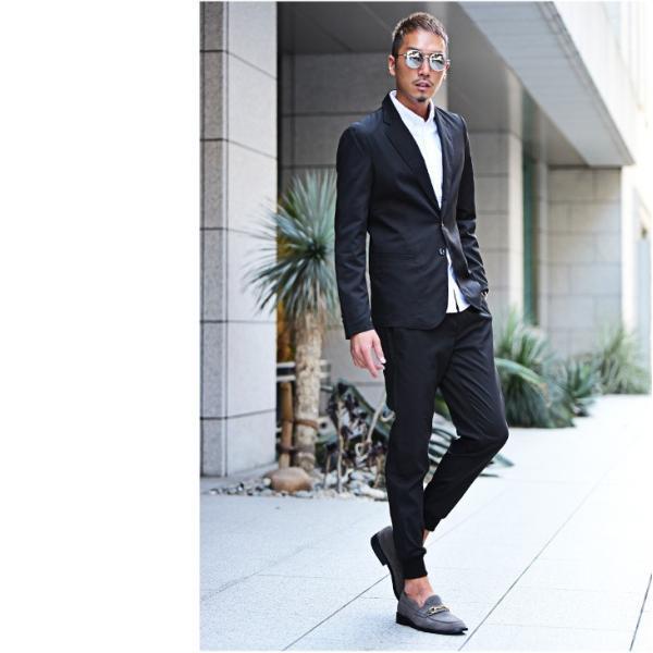 テーラードジャケット メンズ セットアップ スーツ テーパード スラックス ジャケット アンクルパンツ ジョガーパンツ 送料無料|evergreen92|04