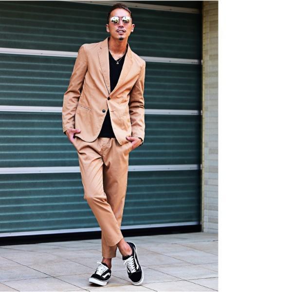 テーラードジャケット メンズ セットアップ スーツ テーパード スラックス ジャケット アンクルパンツ ジョガーパンツ 送料無料|evergreen92|07