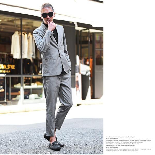 テーラードジャケット メンズ セットアップ スーツ テーパード スラックス ジャケット アンクルパンツ ジョガーパンツ 送料無料|evergreen92|09