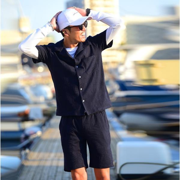 セットアップ メンズ 上下 オープンカラーシャツ 開襟シャツ カラー オープン シャツ 半袖 ショート パンツ ショートパンツ  ハーフパンツ evergreen92 12