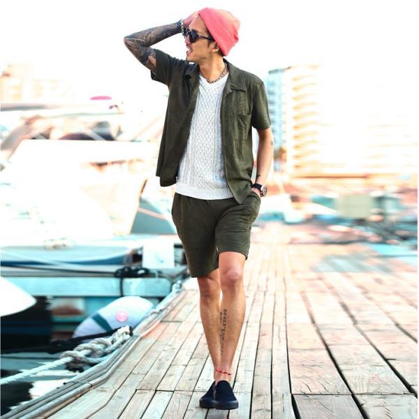 セットアップ メンズ 上下 オープンカラーシャツ 開襟シャツ カラー オープン シャツ 半袖 ショート パンツ ショートパンツ  ハーフパンツ evergreen92 09