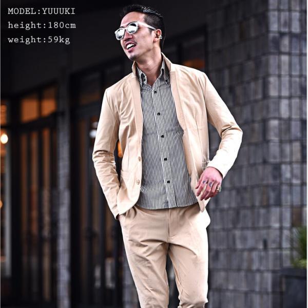 セットアップ メンズ ジャージ スーツ テーラード イタリアンカラージャケット カジュアルスーツ アンクル パンツ XL  送料無料 evergreen92 09